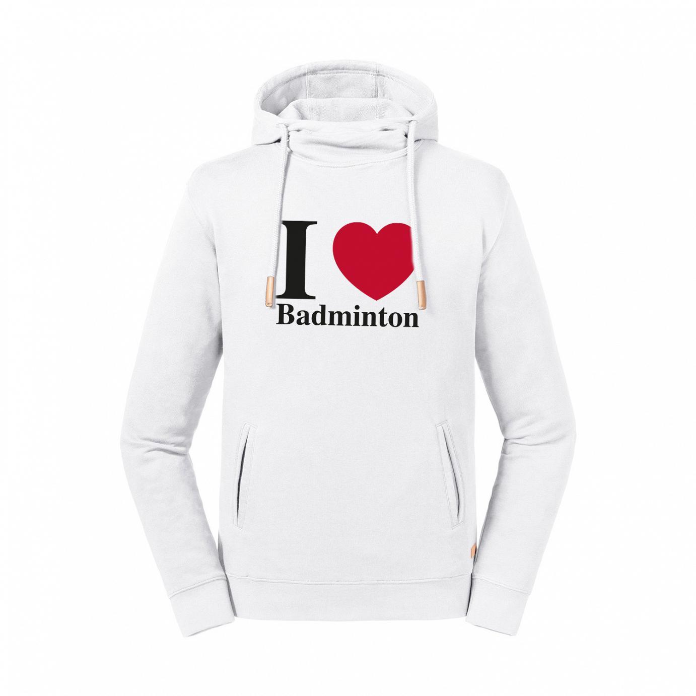 Kapuzen Hoodie I love Badminton - Organic Cotton