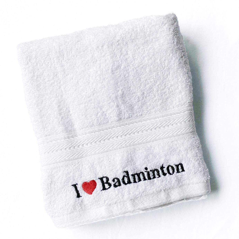 Handtuch I love Badminton